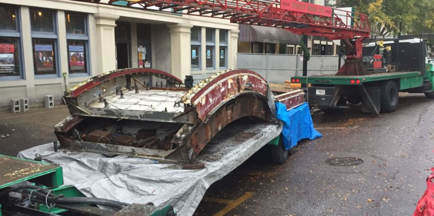 Historic Marquee Removed for Restoration